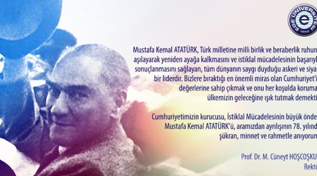 """Hoşcoşkun """"Atatürk, Türk milletine milli birlik ve beraberlik ruhunu aşıladı"""""""
