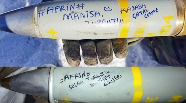 Afrin'den top mermileriyle Turgutlu'ya selam gönderdiler