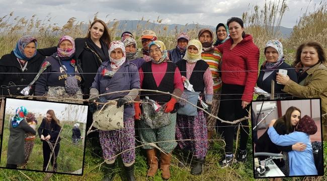 Kadın başkan kadın işçilerle üzüm asmalarını bağladı