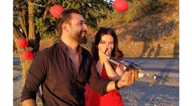 1100 metre yükseklikte drone ile evlenme teklifi