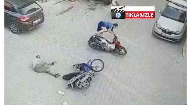 İki motosikletin çarpıştığı kaza güvenlik kamerasında