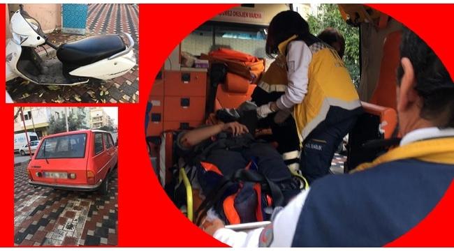 Otomobille çarpışan kasksız motosiklet sürücüsü yaralandı