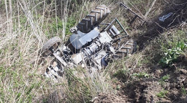 Traktör kurutma kanalına devrildi: 1 yaralı