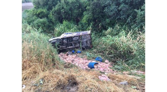 Kamyonet yol kenarına devrildi: 1 yaralı