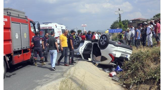 Derbent'te araç takla attı: 2 yaralı (VİDEO)