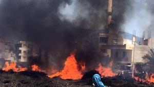 Hayvan damları ve çalılar alev alev yandı (VİDEO)