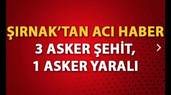 Silopi'de PKK'lı teröristlerle çatışma: 3 şehit, 1 yaralı