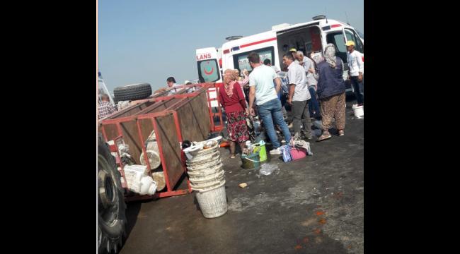 Tarım işçileri kaza yaptı: 11 yaralı (Yeniden)