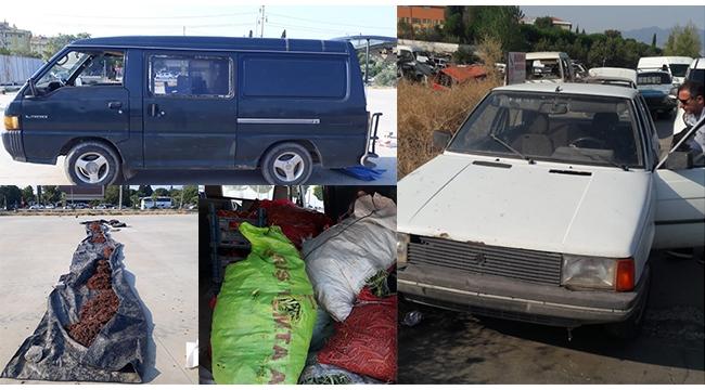 Kuru üzüm hırsızları çalıntı araçlarla iş başında yakalandı