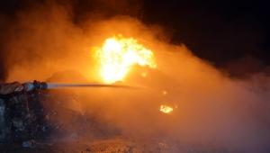 Turgutlu'da atık malzeme yangını korkuttu (VİDEO)