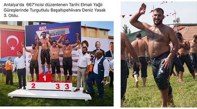 Turgutlulu milli güreşçi Yasak, Elmalı'da 3'üncü oldu
