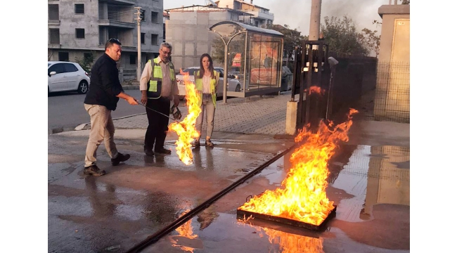 Atlas OSGB'den Bilgikent personellerine yangın tatbikatı