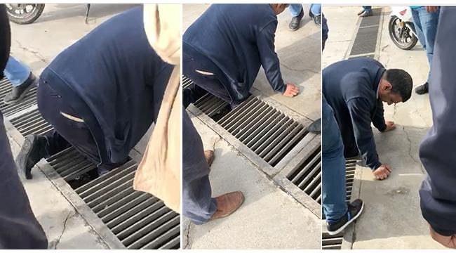 Bacağı mazgala sıkışan adamı itfaiye kurtardı VİDEO