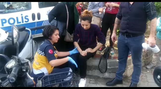 Otomobilin çarptığı elektrikli bisikletteki hamile kadın yaralandı