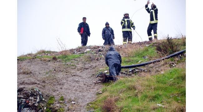 Uçurumda mahsur kaldı, imdadına itfaiye yetişti (VİDEO)