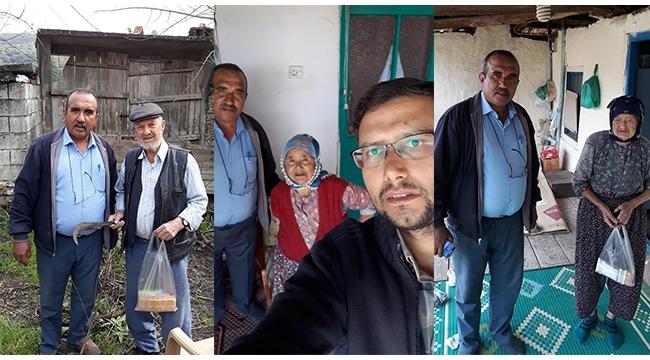 Muhtar ve mahalle imamından büyüklere anlamlı ziyaret