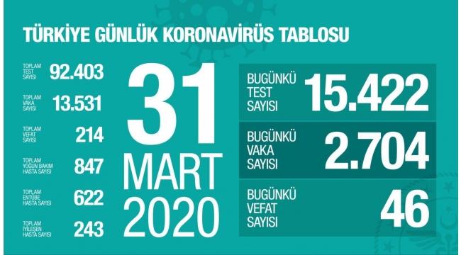 Türkiye'de koronavirüs vaka sayısı 13 bin 531'ye, can kaybı 214'e yükseldi