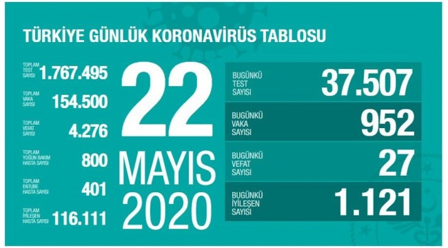 Türkiye'nin 22 Mayıs koronavirüs tablosu