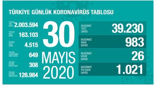 Türkiye'nin 30 Mayıs koronavirüs tablosu