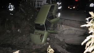 Kurutma kanalına uçan otomobilin sürücüsü hafif yaralandı