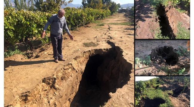 Manisa'da sağanak sonrası fay hattına akan su geniş yarıklar açtı
