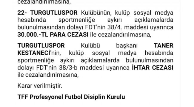 PFDK'dan Turgutluspor'a para, başkan Kestaneci'ye ihtar cezası