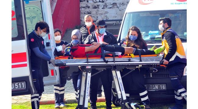 Turgutluspor Serik Belediyespor maçında korkutan anlar