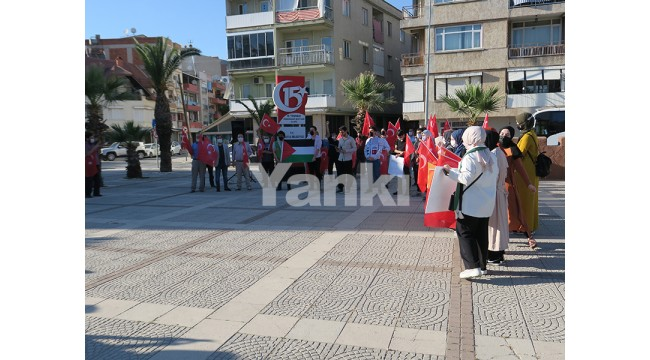 Turgutlu'da bir grup genç İsrail'i protesto etti