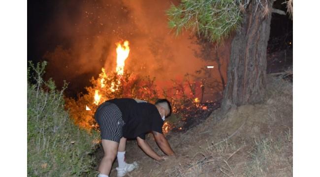 Salihli'de korkutan orman yangını; 10 dönüm alan zarar gördü