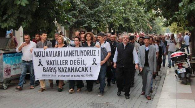 Ankara'daki hain saldırıya Manisa'da protesto