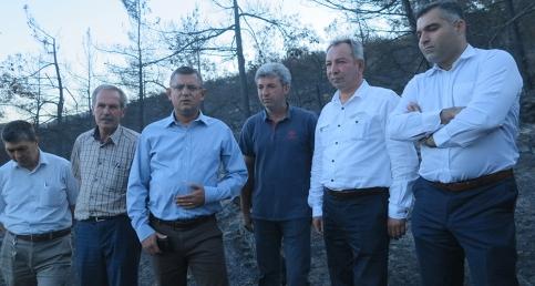 CHP'li Özgür Özel ve Nurlu yangın bölgelerinde